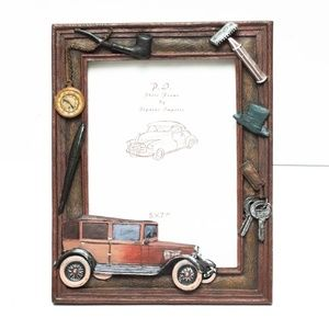 Father Dad Photo Frame 5x7 Car Pipe Brown Ceramic